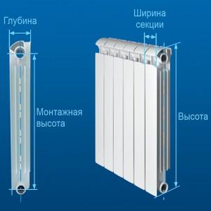 габаритные размеры алюминиевого радиатора
