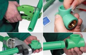 процесс пайки пластиковых труб