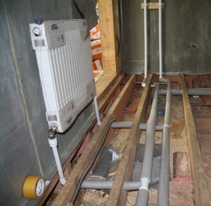 система отопления на этапе строительства