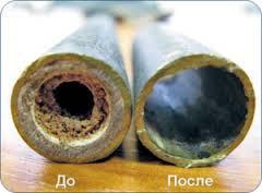 труба до и после промывки