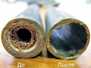 труба отопления до и после промывки