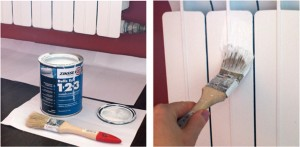 покраска батареи кисточкой