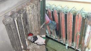 снятие старой краски с батареи отопления