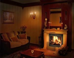 отопление дома дровяным камином